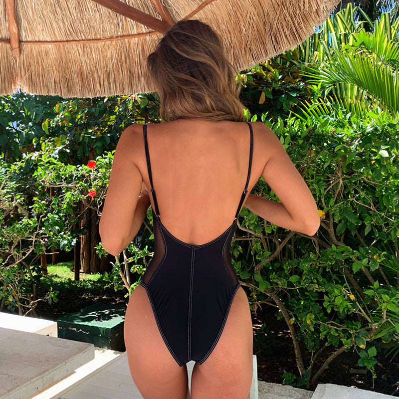 Backless Push Up Mesh Patchwork One Piece Swimsuit. (4 Colors Available)