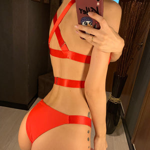 Bandage Cross Back Adjustable Two Piece Bikini. (4 Colors Available)
