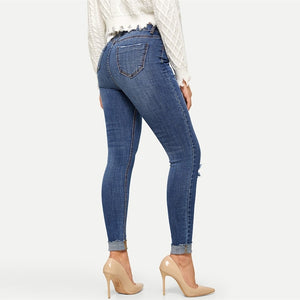 Mid Waist Navy Rolled Ripped Knee Stretch Skinny Jeans.