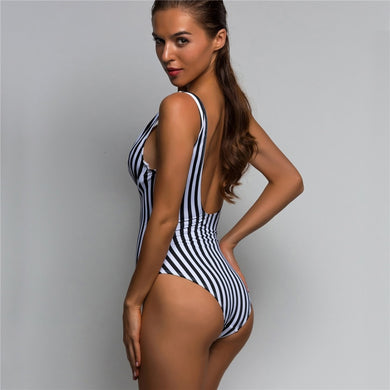 Striped V-Bar Plunge V-Shape One Piece Swimsuit.