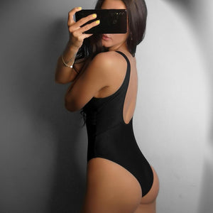 Mesh U-Back Plunging Solid One Piece Swimsuit. (2 Colors Available)
