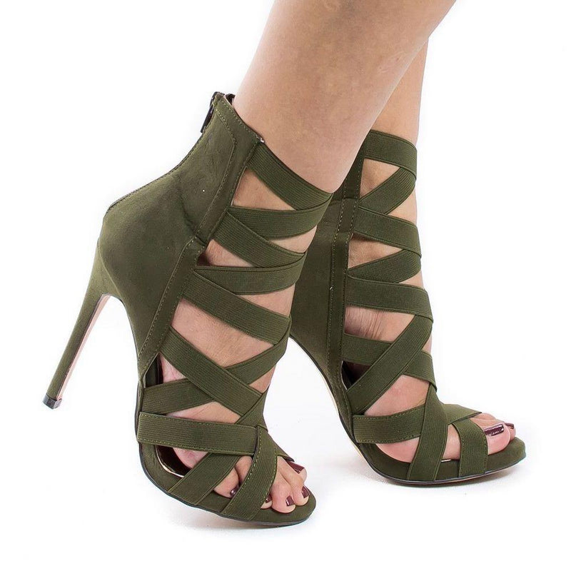 Peep Toe Thin High Heel Gladiator Sandals. (6 Colors Available)