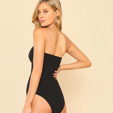Backless Deep V Lining Bustier Skinny Bodysuit.