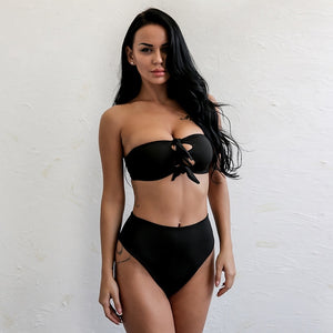 Brazilian Style Bandage Rosette Push Up Bikini. (2 Colors Available)