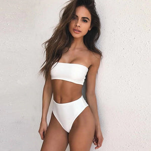 High Waist Bandeau High Leg Two Piece Bikini. (7 Colors Available)