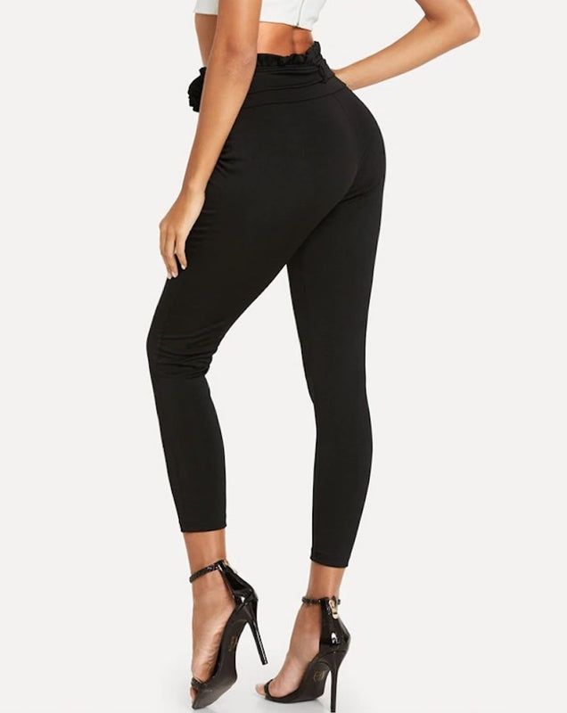 Elastic High Waist Frill Belted Skinny Capris Pants.