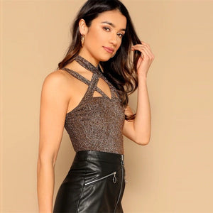 Halter Criss Cross Glitter Gold Stretchy Slim Fit Cami Top.