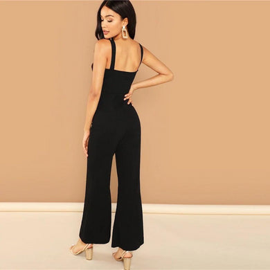 Backless Mid Waist V-Notch Front Flare Leg Jumpsuit.