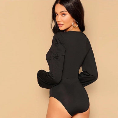 Long Lantern Sleeve Deep V-Neck Slim Fit Bodysuit.