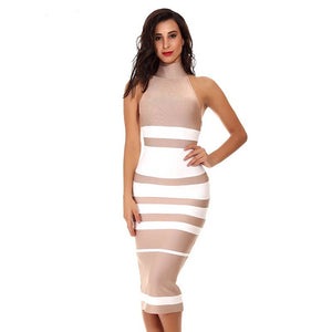 Striped Mid Calf Bandage Bodycon Sleeveless Dress. (2 Colors Available)