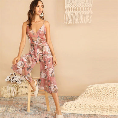 Wide Leg Boho Surplice Neck Ruffle Deep V-Neck Jumpsuit.