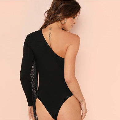 Backless One Shoulder Fringe Trim Long Sleeve Bodysuit.