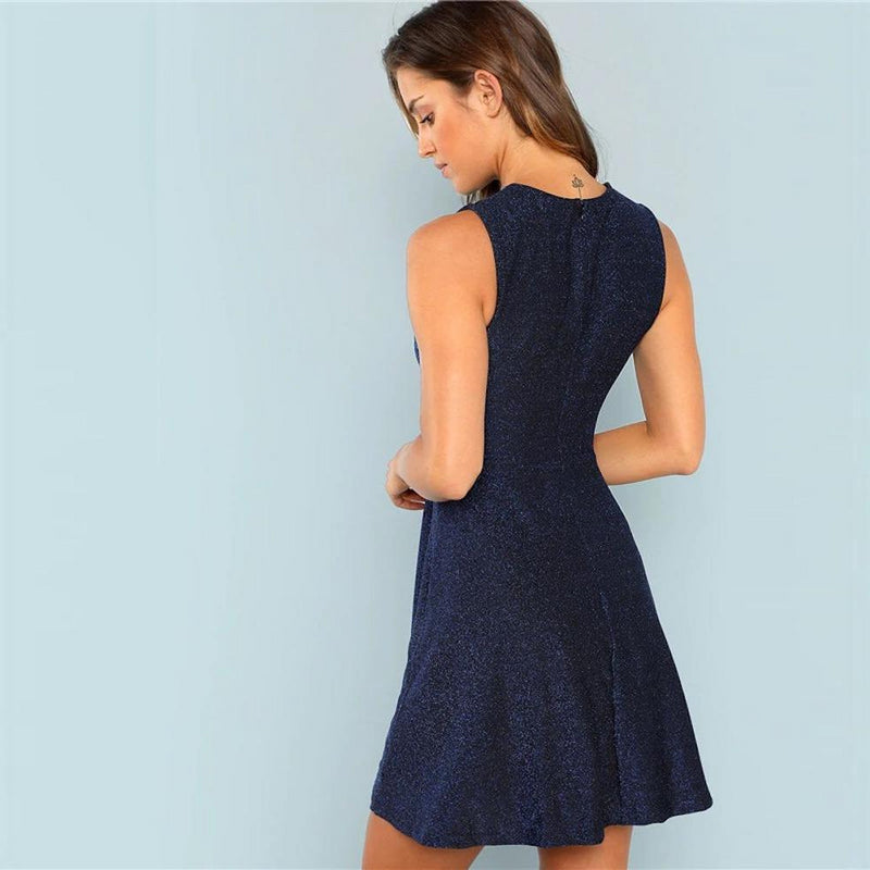 High Waist Fit & Flare Flounce Glitter Mini Dress.
