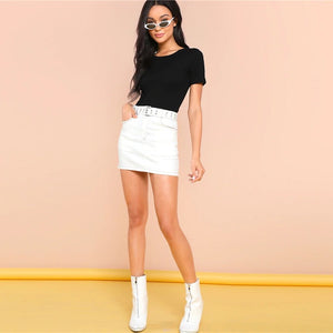 T-Shirt Style Form Fitting O-Neck Skinny Bodysuit.