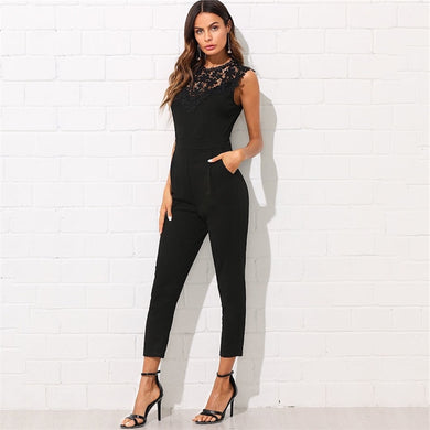 Sleeveless Round Neck Guipure Lace Pocket Jumpsuit.