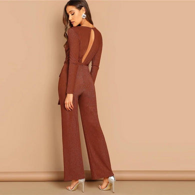 High Waist Plunging Neck Self Belted Wrap Jumpsuit.