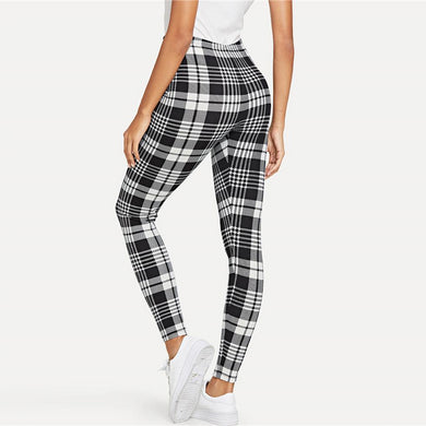 Mid Waist Plaid Print Workout Leggings.