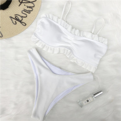 Ruffles Push Up Padded Bandage Two Piece Bikini.