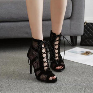 Lace Up Peep Toe Net Suede Cross Strap High Heel Pumps.