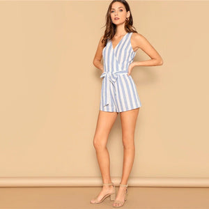 Surplice Neck Striped Mid Waist Belted Boho Romper.