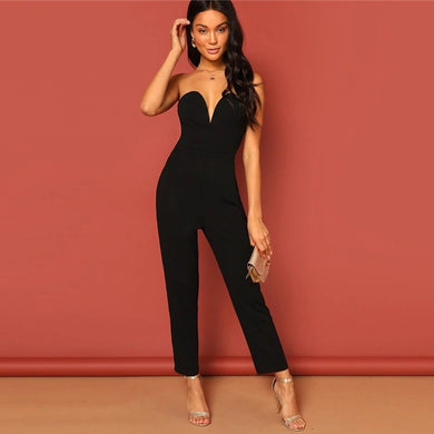 Strapless Zip Back Mid Waist Maxi Jumpsuit.