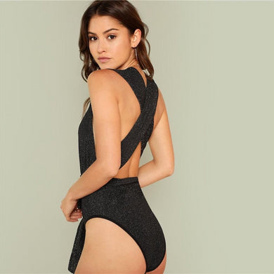 High Waist Deep V-Neck Sleeveless Halter Skinny Bodysuit.