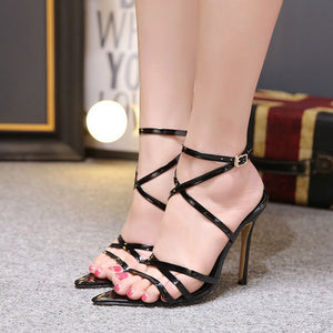 Pointed Toe Fish Mouth Cross High Heel Stiletto Sandals.