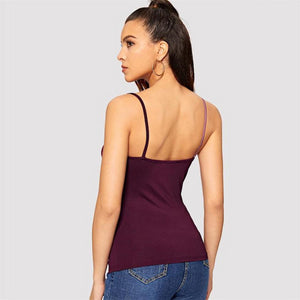 Twist Front Patchwork Multi Tone V-Neck Cami Top.