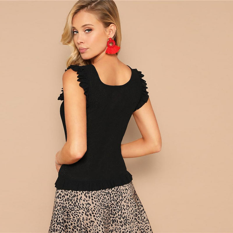 Ruffle Armhole Scoop Neck Rib-knit Fitted Tank Top.