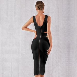 Sleeveless Hollow Out Bandage Bodycon Midi Dress. (2 Colors Available)