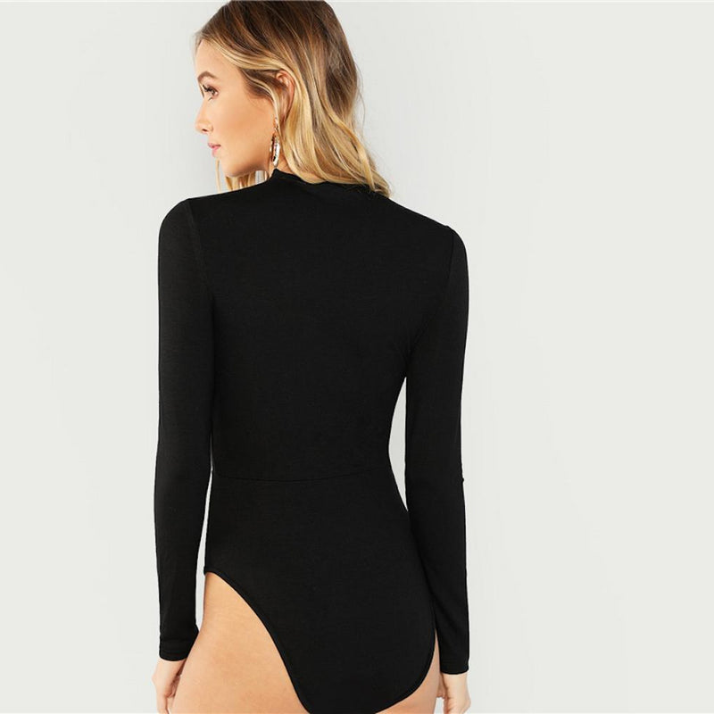 Lace Trim Tie Up Plunging Long Sleeve Skinny Bodysuit.