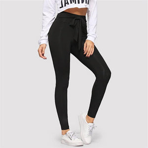 Drawstring Waist Tie Solid Skinny Leggings.