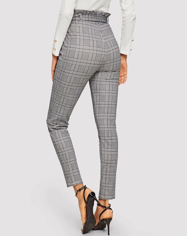 High Paper Bag Waist Belted Plaid Pants.