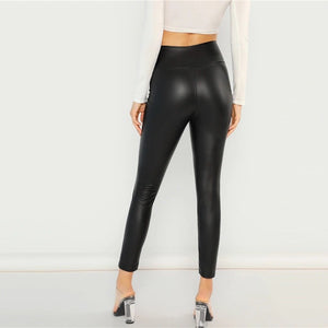 Exposed Front Zip Minimalist Skinny Leggings.