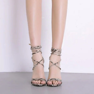 Lace-Up Serpentine Shallow Thin High Heel Sandals.