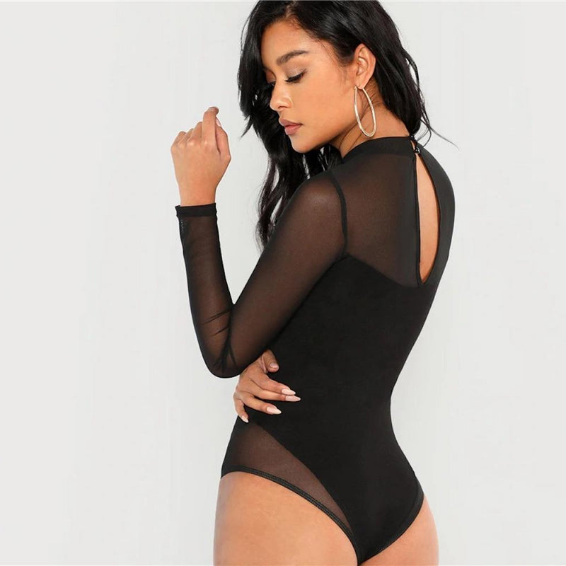 Long Sleeve Mock Neck Mesh Panel Skinny Bodysuit.