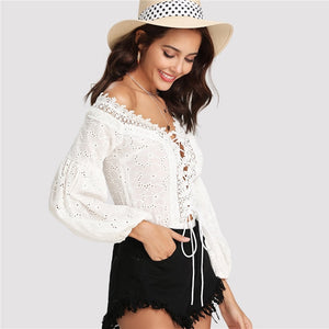 Lace Trim Plunge Neck Eyelet Embroidered Bodysuit.