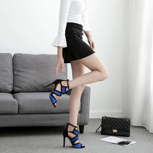 Buckle Strap Hollow Out High Heel Pumps. (3 Colors Available)