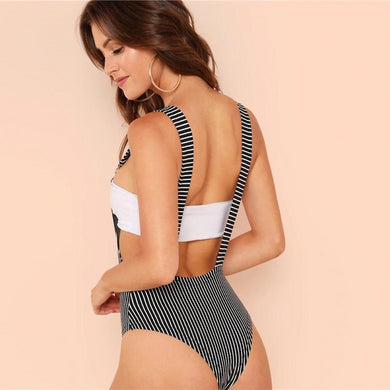 Mid Waist Striped Pocket Suspender Bodysuit.