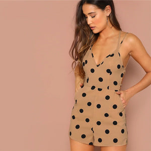 Open Back Deep V-Neck Strappy Crisscross Dotted Romper.