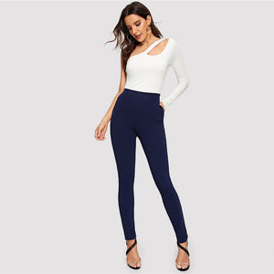 Elastic Mid Waist Pocket Side Textured Skinny Pants.
