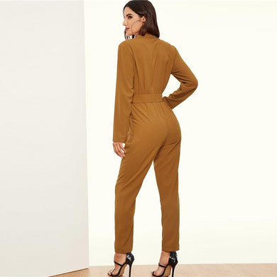 High Waist Double Button Collar Plunging Belted Jumpsuit.