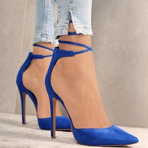 Pointed Toe Ankle Strap High Heel Stiletto Pumps.