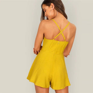 Crisscross Back High Waist Button Front Spaghetti Strap Romper.