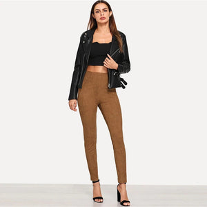Solid Brown Suede Skinny Leggings.