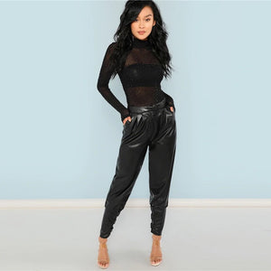 Long Sleeve Sheer Mesh Mid Waist High Neck Rhinestone Bodysuit.