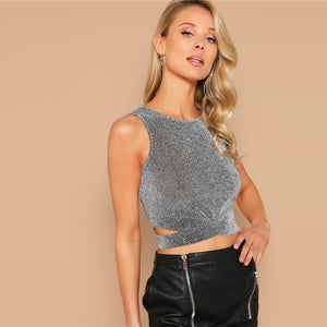 Cross Wrap Hem Round Neck Glitter Tank Top.
