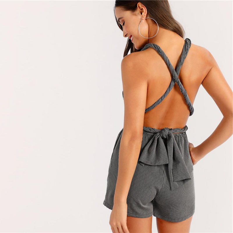 Backless Crisscross Plunging Neck Striped High Waist Romper.