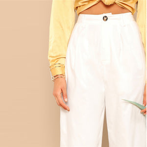 Mid Waist Buttoned Front Straight Leg Crop Pants.