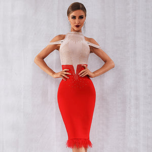 Off Shoulder Bandage Feather Bodycon Bead Dress. (3 Colors Available)